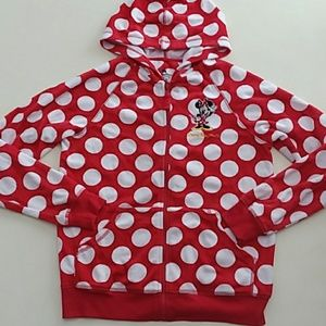 Disney Minnie Mouse red white polka dot hoodie